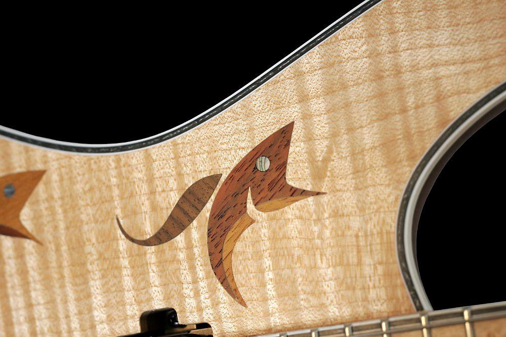 Mayones Regius 6M Flamed Maple Fish Inlays Custom Shop Trans Natural Satine finish