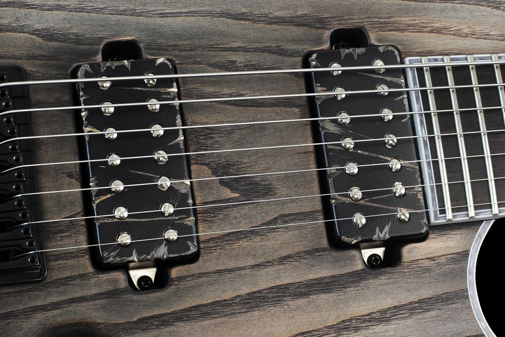 Mayones Regius 7 Antique Black Oil - Master Builder Collection 2013 - Bare Knuckle Pickups Aftermath Black Battleworn cover set - Direct to body mounted pickups