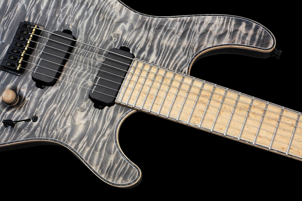 Mayones Regius 7 Cardamom Piezo - Master Builder Collection 2013 - Birdseye Maple fingerboard, 3-ply White ABS / Gray Pearloid / Flamed Maple binding (body, fingerboard, head)