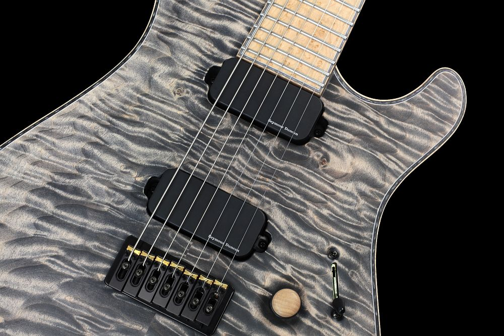 Mayones Regius 7 Cardamom Piezo - Master Builder Collection 2013 - ABM 3257 fixed strings-thru-body bridge, RMC Piezo saddles