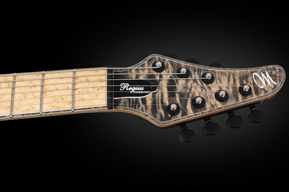 Mayones Regius 7 Cardamom Piezo - Master Builder Collection 2013 - head - Graph Tech Black Tusq nut and locking tuners