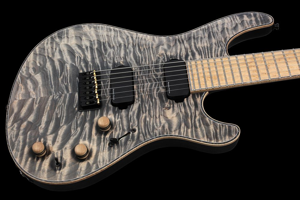 Mayones Regius 7 Cardamom Piezo - Master Builder Collection 2013 - front - Quilted Maple top, Swamp Ash body wings, Birdseye Maple fingerboard