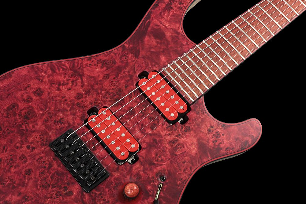 Mayones Regius 7 Chilli - Master Builder Collection 2012 - Top, fingerboard, and head with a 3-ply Black ABS / Red Pearloid binding