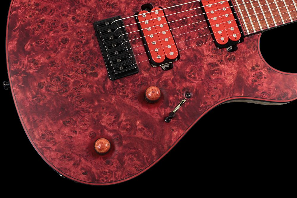 Mayones Regius 7 Chilli - Master Builder Collection 2012 - Volume (push-pull) and Tone control, Mayones Custom Shop wooden knobs
