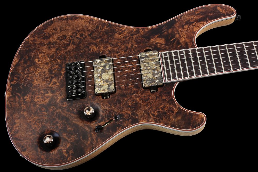 Mayones Regius 7 Cinnamon - Master Builder Collection 2013 - front - Eye Poplar top, Swamp Ash body wings, Rosewood fingerboard