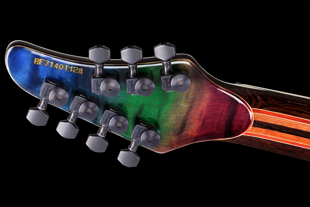 Mayones Regius 7 Dirty Rainbow - Master Builder Collection 2014 - Quilted Maple head back, Locking tuners