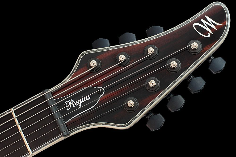 Mayones Regius 7M Exotic Ebony Macassar Piezo HSH DiMarzio Pickups Trans Natural Gloss finish