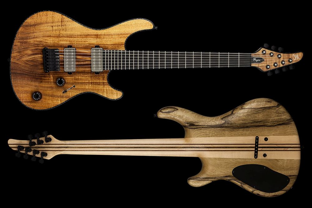 Mayones Regius 7 Koa Figured - Master Builder Collection 2015 - front & back