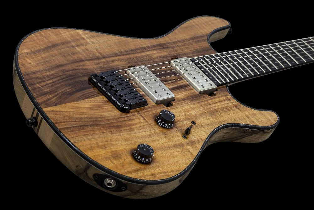 Mayones Regius 7 Koa Figured - Master Builder Collection 2015 - Figured Koa top, Black Limba body wings, 11-ply neck-thru-body section, Ebony fingerboard