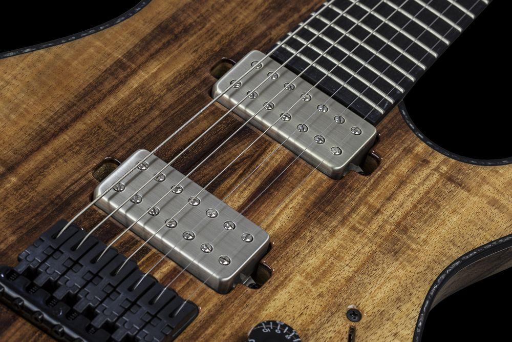 Mayones Regius 7 Koa Figured - Master Builder Collection 2015 - Bare Knuckle Pickups Aftermath Nickel cover set