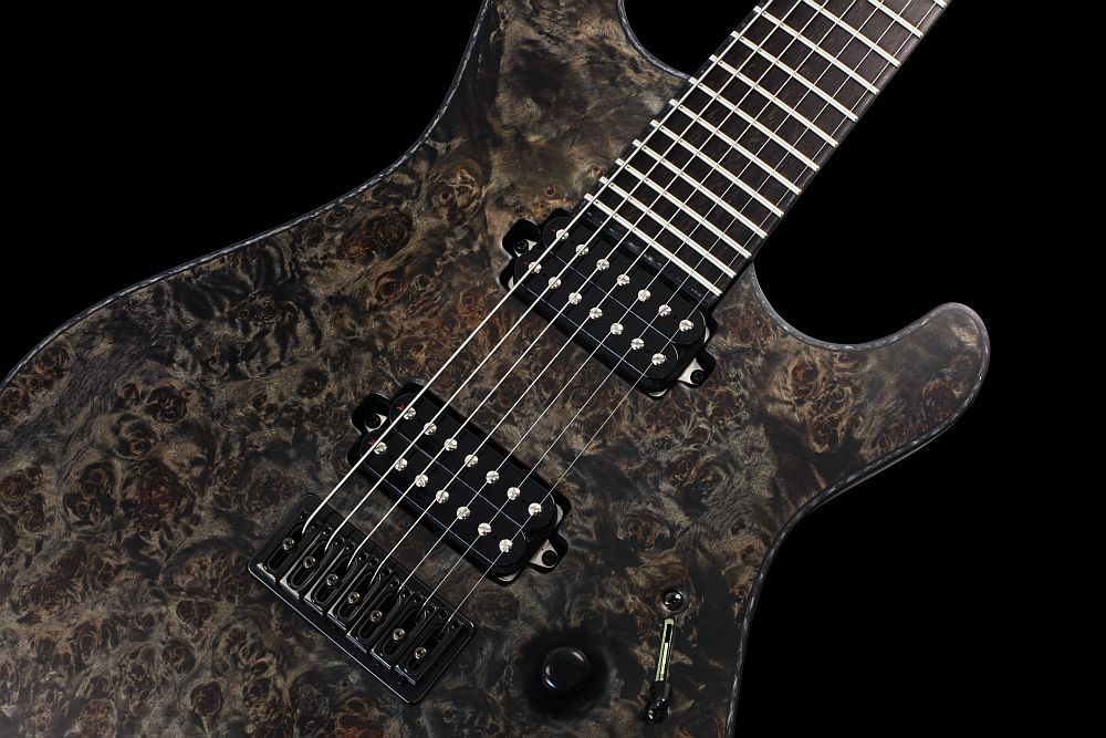Mayones Regius 7 Pepper - Master Builder Collection 2012 - Top, fingerboard, and head with a 3-ply Black ABS / Black Pearloid binding