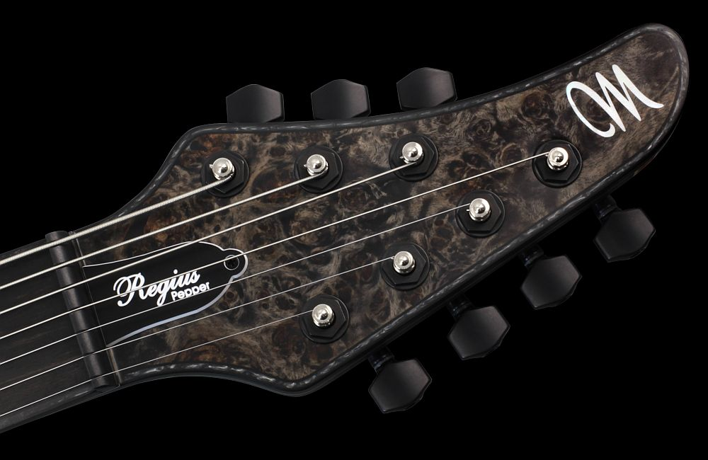 Mayones Regius 7 Pepper - Master Builder Collection 2012 - head - Graph Tech Black Tusq nut and locking tuners