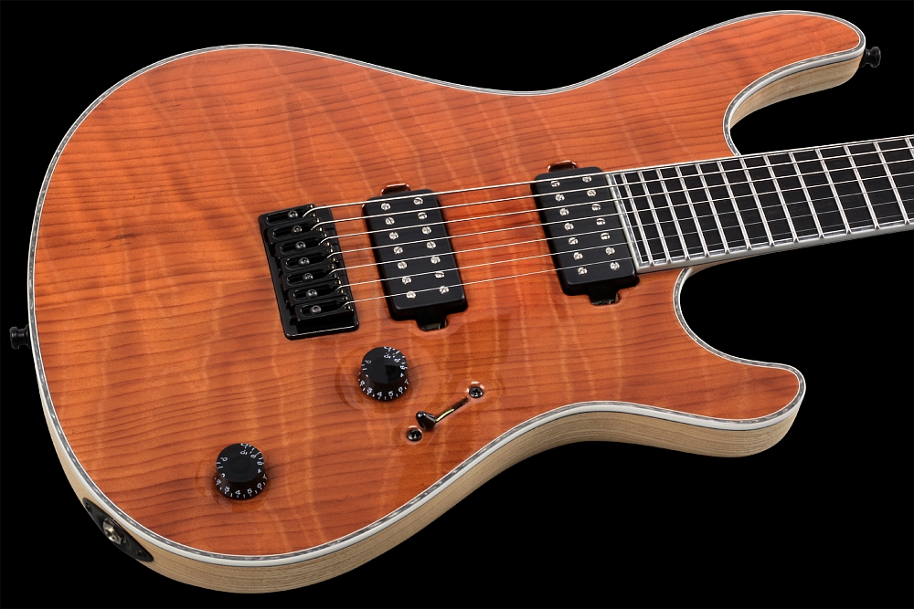 Mayones Regius 7 Redwood Curly - Master Builder Collection 2014 - Curly Redwood top, Swamp Ash body wings, Ebony fingerboard