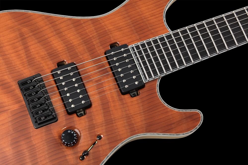 Mayones Regius 7 Redwood Curly - Master Builder Collection 2014 - ABM 3257 fixed strings-thru-body bridge