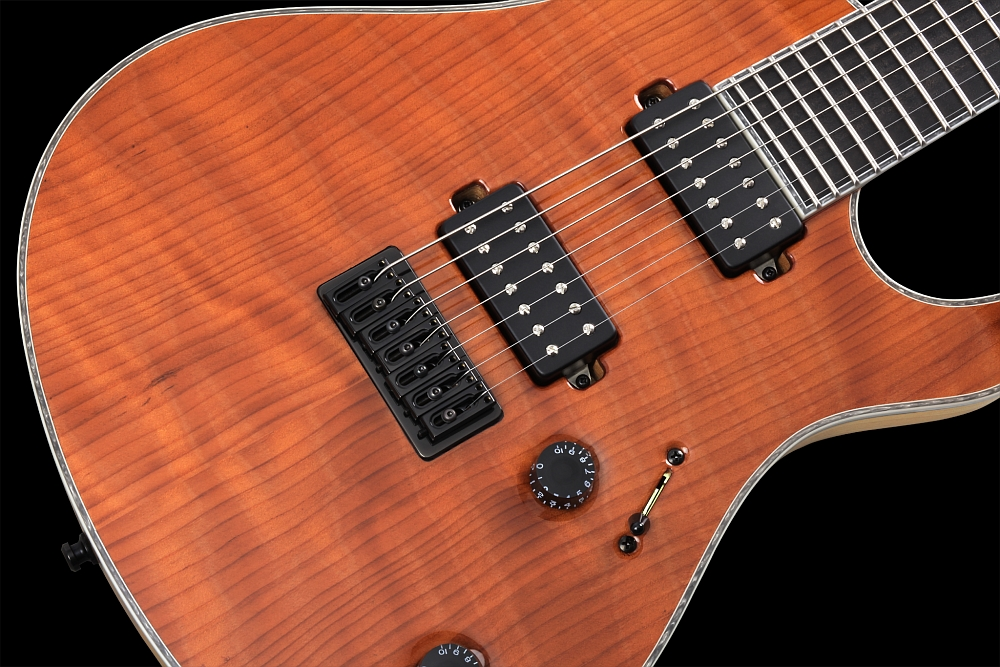 Mayones Regius 7 Redwood Curly - Master Builder Collection 2014 - Direct to body mounted pickups