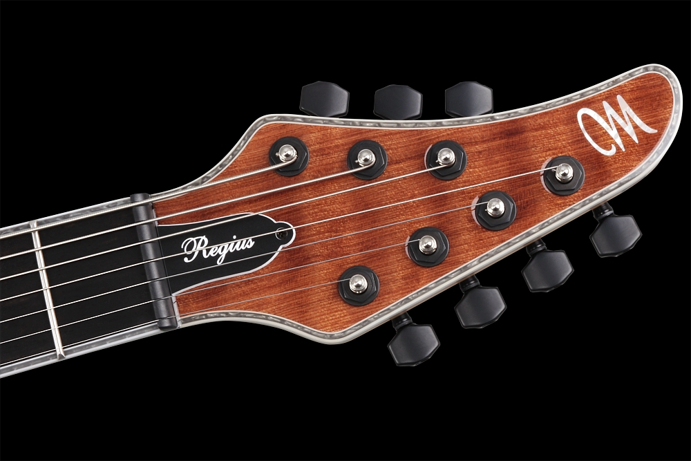 Mayones Regius 7 Redwood Curly - Master Builder Collection 2014 - head - Graph Tech Black Tusq nut and locking tuners