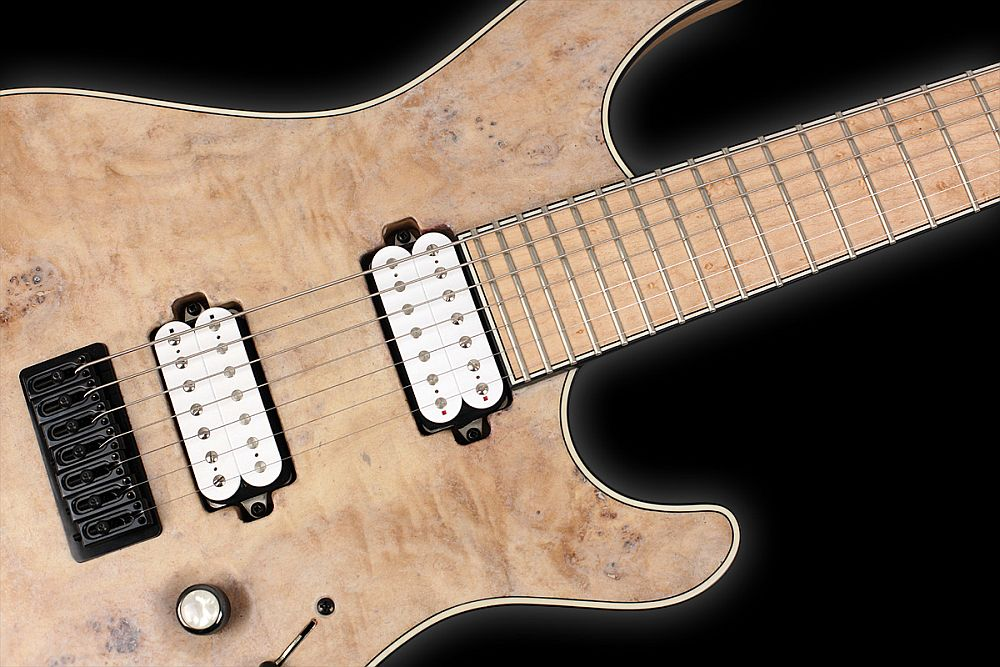 Mayones Regius 7 Salt - Master Builder Collection 2012 - Bare Knuckle Pickups - Rebell Yell (bridge) & Cold Sweat (neck) - Direct to body mounted pickups