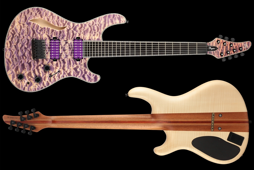 Mayones Regius 7 Quilted Maple Semi-Hollow - Master Builder Collection 2014 - front & back