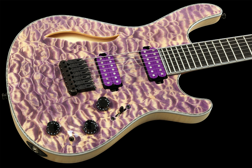 Mayones Regius 7 Quilted Maple Semi-Hollow - Master Builder Collection 2014 - front - Quitled Maple top, Flamed Maple body wings, semi-hollow body, Ebony fingerboard