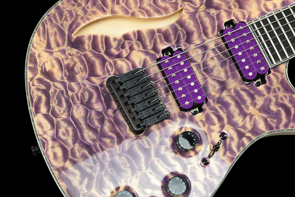 Mayones Regius 7 Quilted Maple Semi-Hollow - Master Builder Collection 2014 - Schaller Hannes fixed strings-thru-body bridge