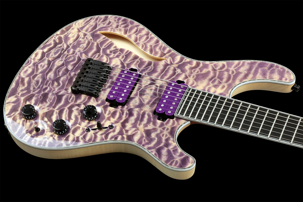 Mayones Regius 7 Quilted Maple Semi-Hollow - Master Builder Collection 2014 - Easy access to the upper frets