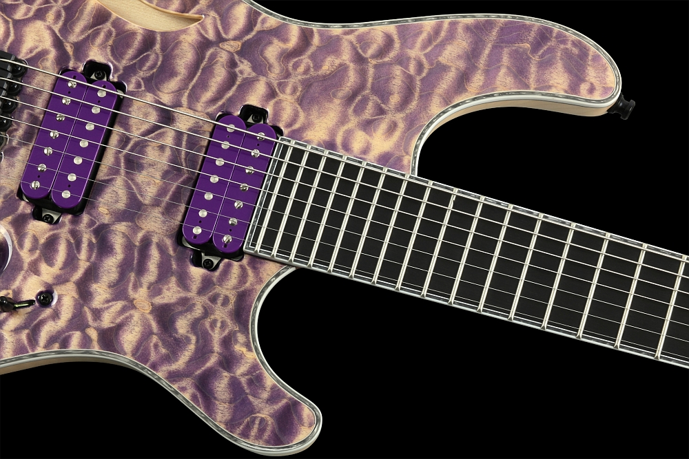 Mayones Regius 7 Quilted Maple Semi-Hollow - Master Builder Collection 2014 - Ebony fingerboard, 3-ply White ABS / Gray Pearloid binding (body, fingerboard, head)