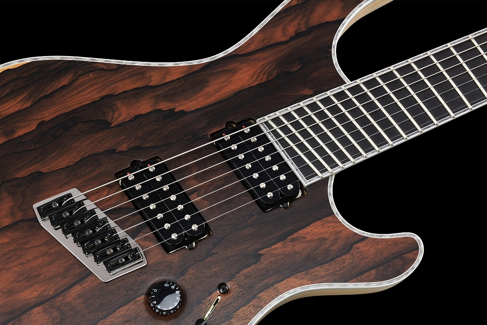 Mayones Regius 7 V•Frets Multiscale Ziricote - Master Builder Collection 2014 - Mayones V•Frets fixed strings-thru-body bridge