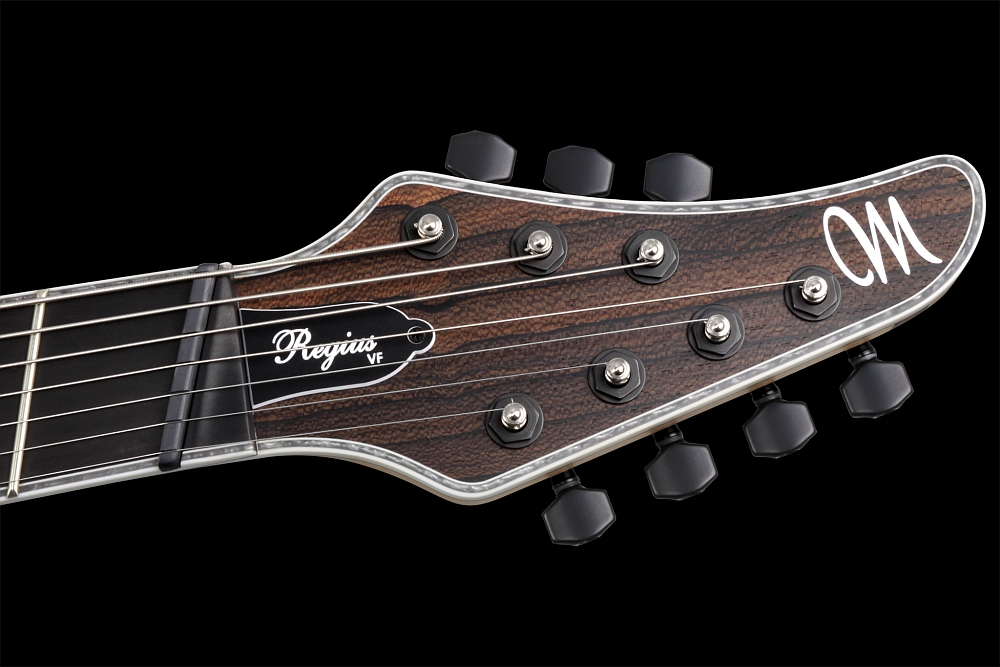 Mayones Regius 7 V•Frets Multiscale Ziricote - Master Builder Collection 2014 - head - Graph Tech Black Tusq nut and locking tuners