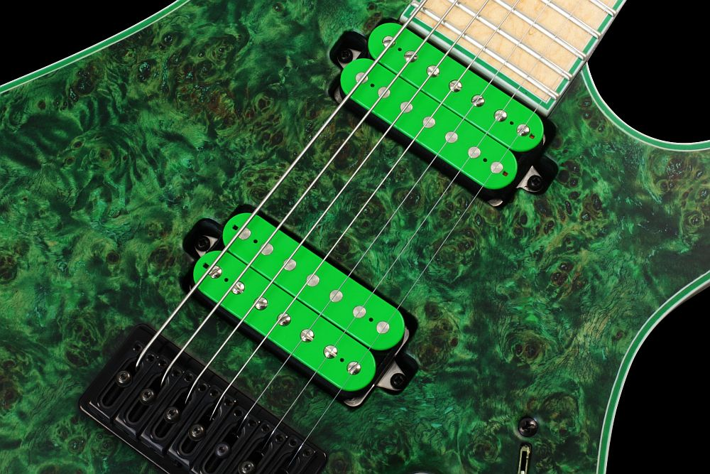 Mayones Regius 7 Wasabi - Master Builder Collection 2013 - Bare Knuckle Pickups - Nailbomb (bridge) & Cold Sweat (neck) - Direct to body mounted pickups