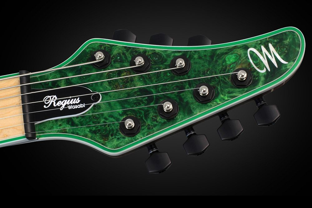 Mayones Regius 7 Wasabi - Master Builder Collection 2013 - head - Graph Tech Black Tusq nut and locking tuners