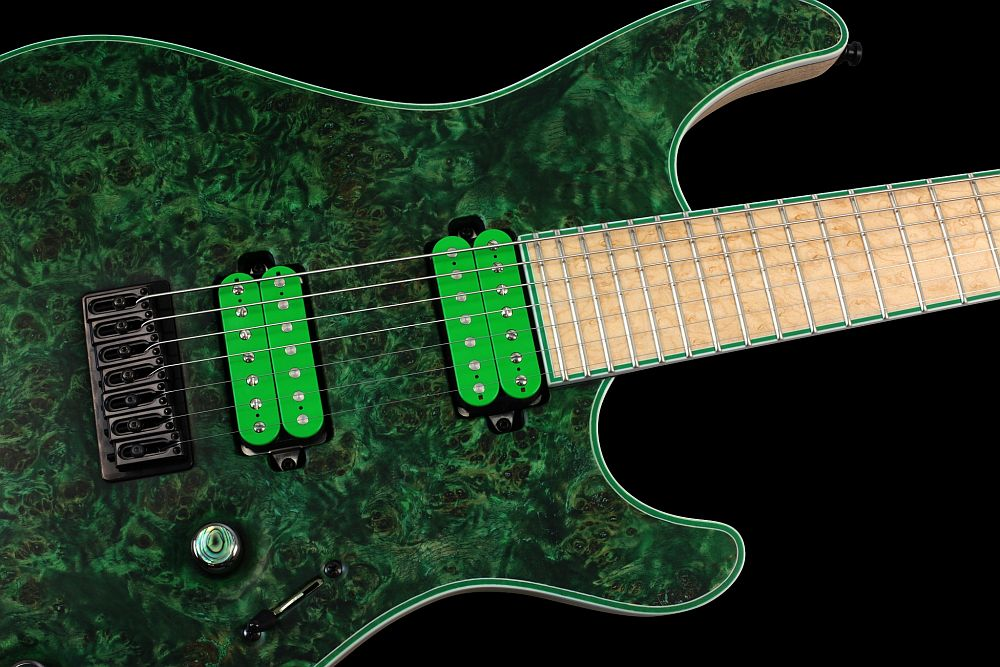 Mayones Regius 7 Wasabi - Master Builder Collection 2013 - 3-ply White ABS / Green Pearloid binding (body, fingerboard, head)