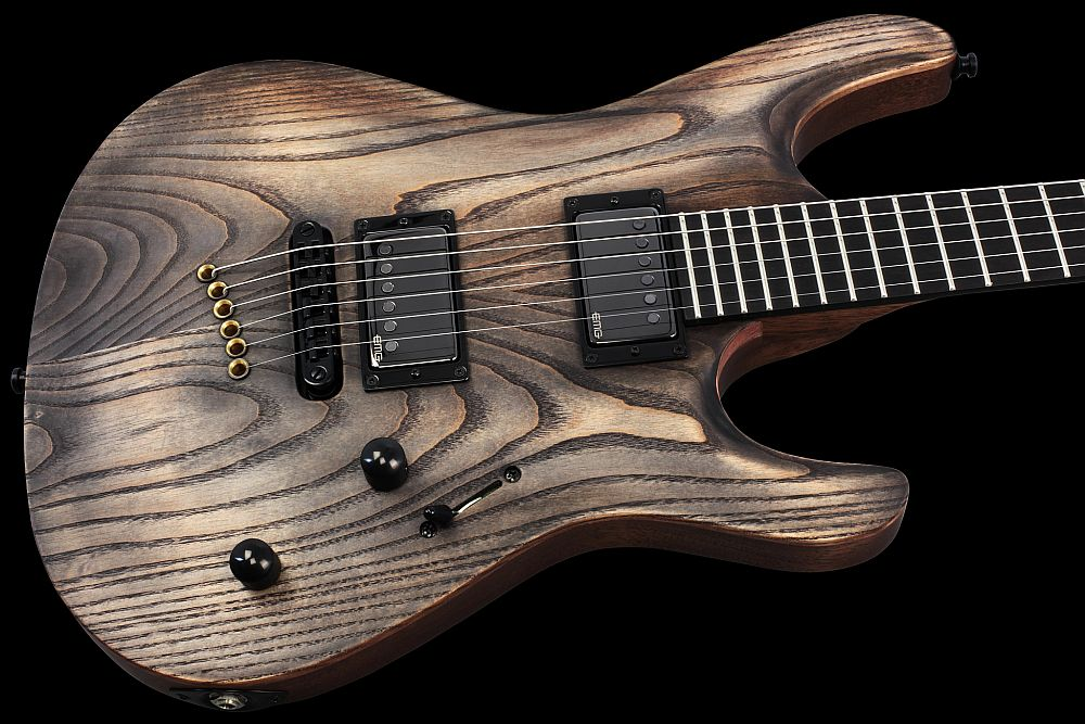 Mayones Setius 6 GTM Antique Oil - Master Builder Collection 2013 - front - Hand-selected Ash top, Mahogany Sapele body back, Ebony fingerboard