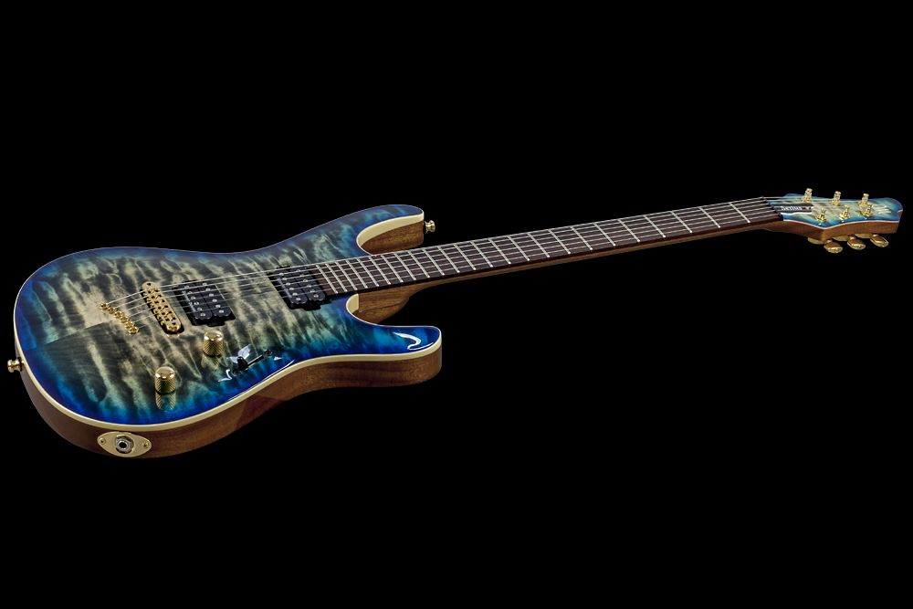 Mayones Setius 6 GTM Quilted Maple 3A Custom Shop Trans Jeans Black 3Tone Blue Burst Gloss finish Seymour Duncan SH-4/SH-2 pickups Gold hardware