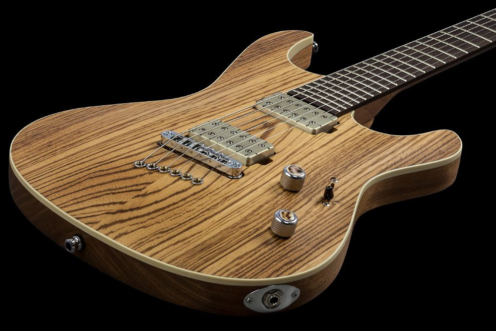 Mayones Setius 6 GTM Zebrawood - Master Builder Collection 2016 - front - Zebrawood (Zebrano) top, Mahogany Khaya body back, Rosewood fingerboard