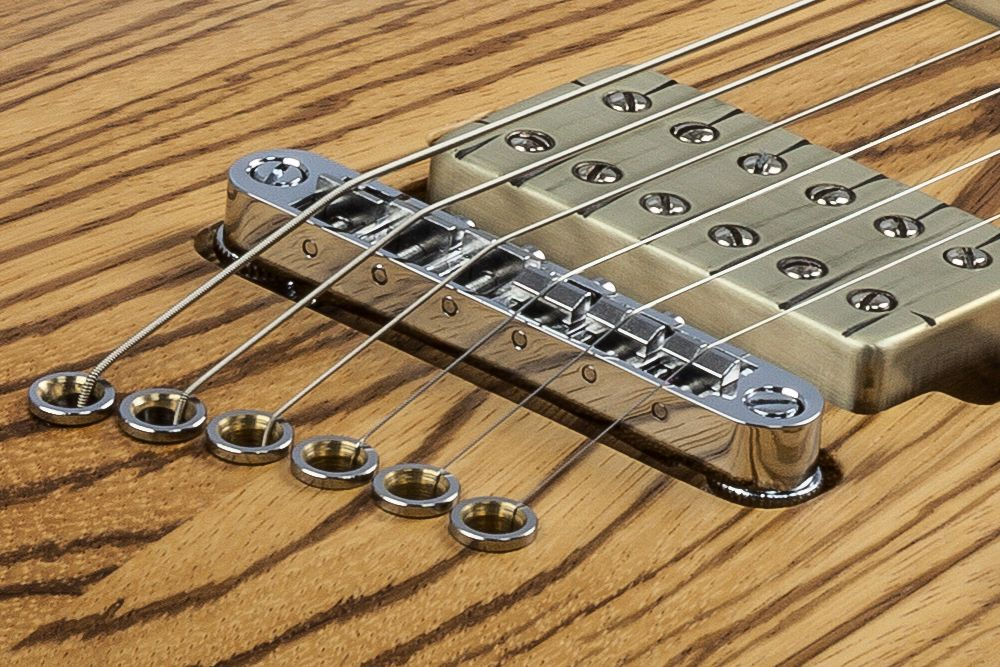 Mayones Setius 6 GTM Zebrawood - Master Builder Collection 2016 - Tune-O-Matic style strings-thru-body bridge