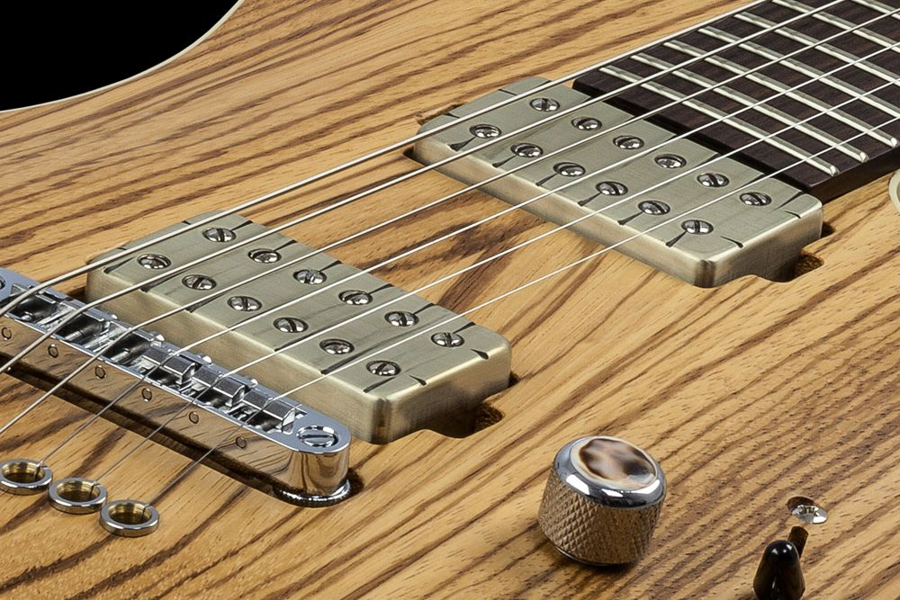 Mayones Setius 6 GTM Zebrawood - Master Builder Collection 2016 - Bare Knuckle Pickups Aftermath Tyger cover set - direct to body mounted pickups