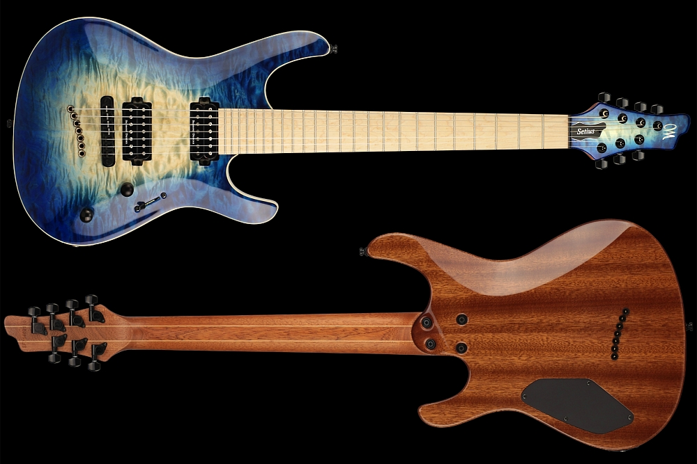 Mayones Setius 7 GTM Quilted Maple Trans Natural Fade Blue Burst Out - Master Builder Collection 2014 - front & back