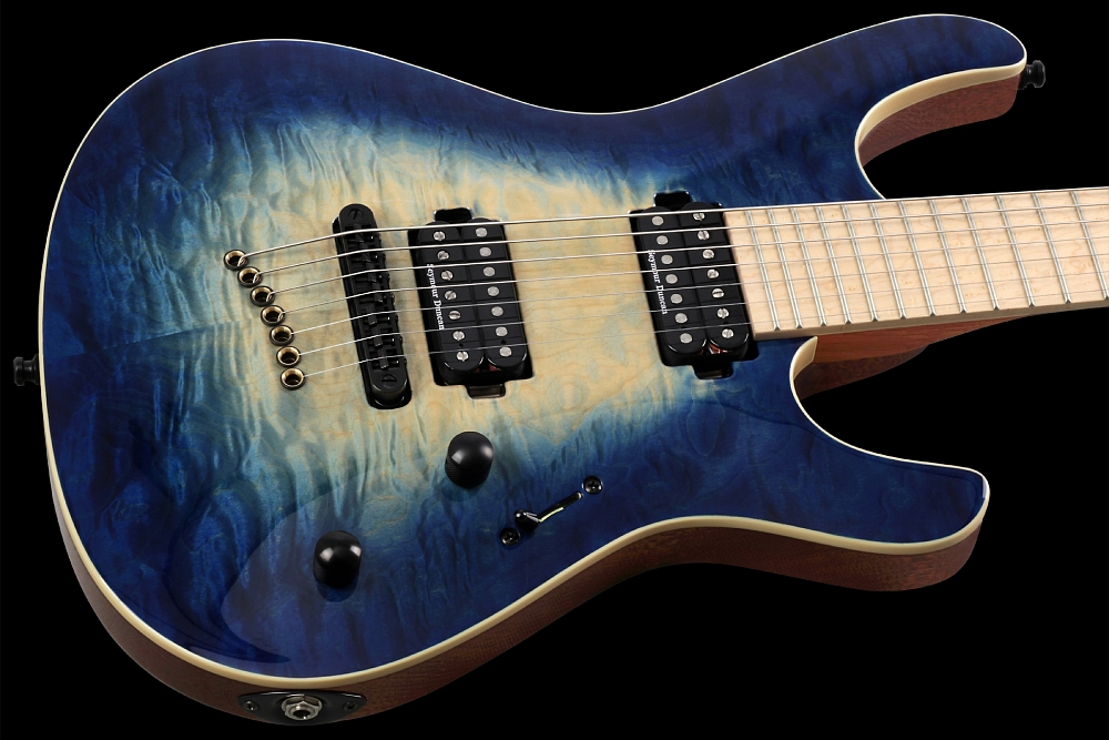 Mayones Setius 7 GTM Quilted Maple Trans Natural Fade Blue Burst Out - Master Builder Collection 2014 - Quilted Maple top, Mahogany Sapele body back, Birdseye Maple fingerboard