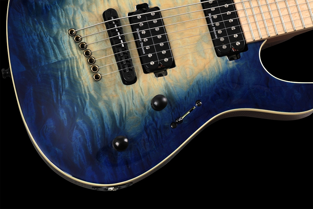Mayones Setius 7 GTM Quilted Maple Trans Natural Fade Blue Burst Out - Master Builder Collection 2014 - Volume and Tone control, 3-way lever switch, Metal dome knobs