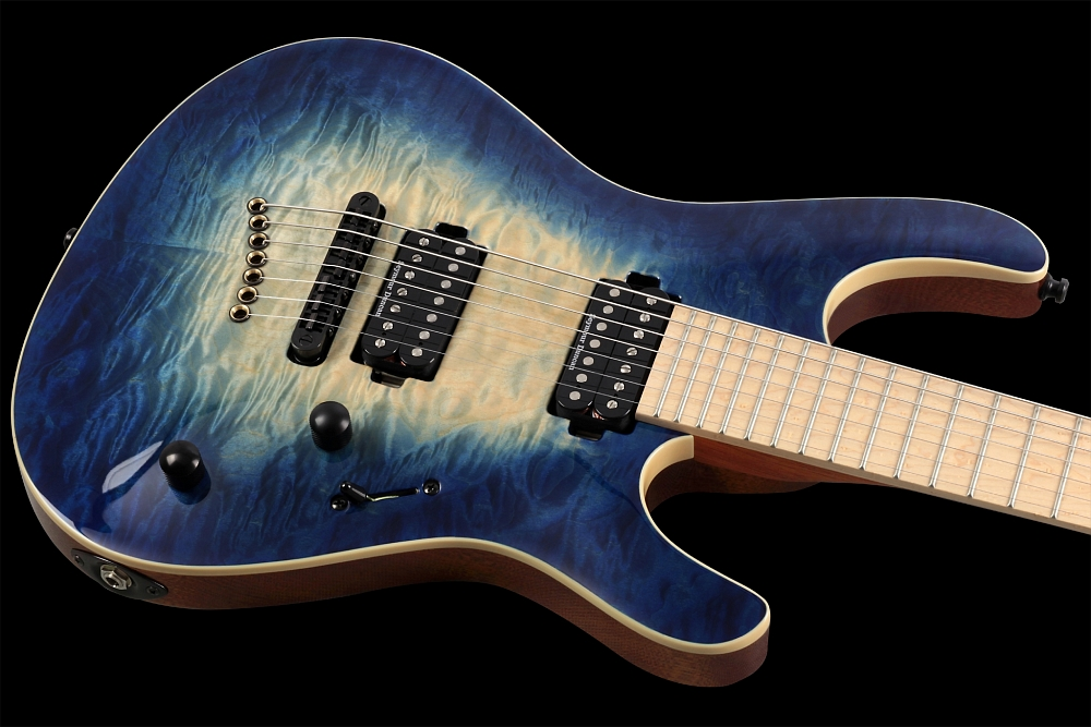 Mayones Setius 7 GTM Quilted Maple Trans Natural Fade Blue Burst Out - Master Builder Collection 2014 - Easy access to the upper frets