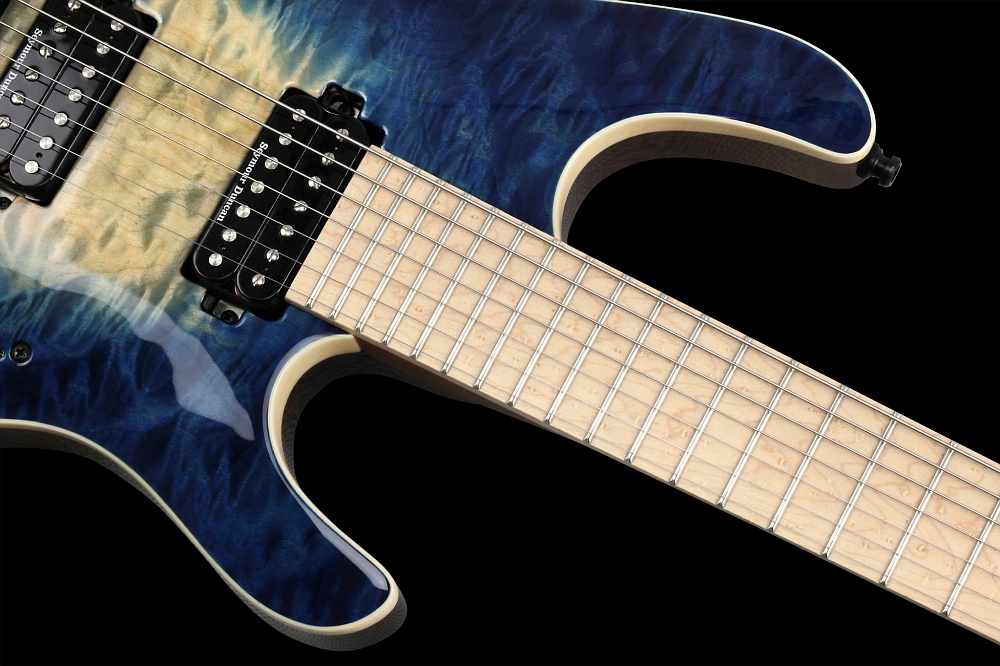 Mayones Setius 7 GTM Quilted Maple Trans Natural Fade Blue Burst Out - Master Builder Collection 2014 - Birdseye Maple fingerboard, Ferd Wagner 24 jumbo 18% Nickel-Silver Hard frets