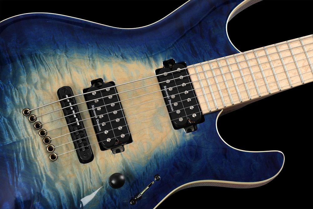 Mayones Setius 7 GTM Quilted Maple Trans Natural Fade Blue Burst Out - Master Builder Collection 2014 - Quilted Maple carved top