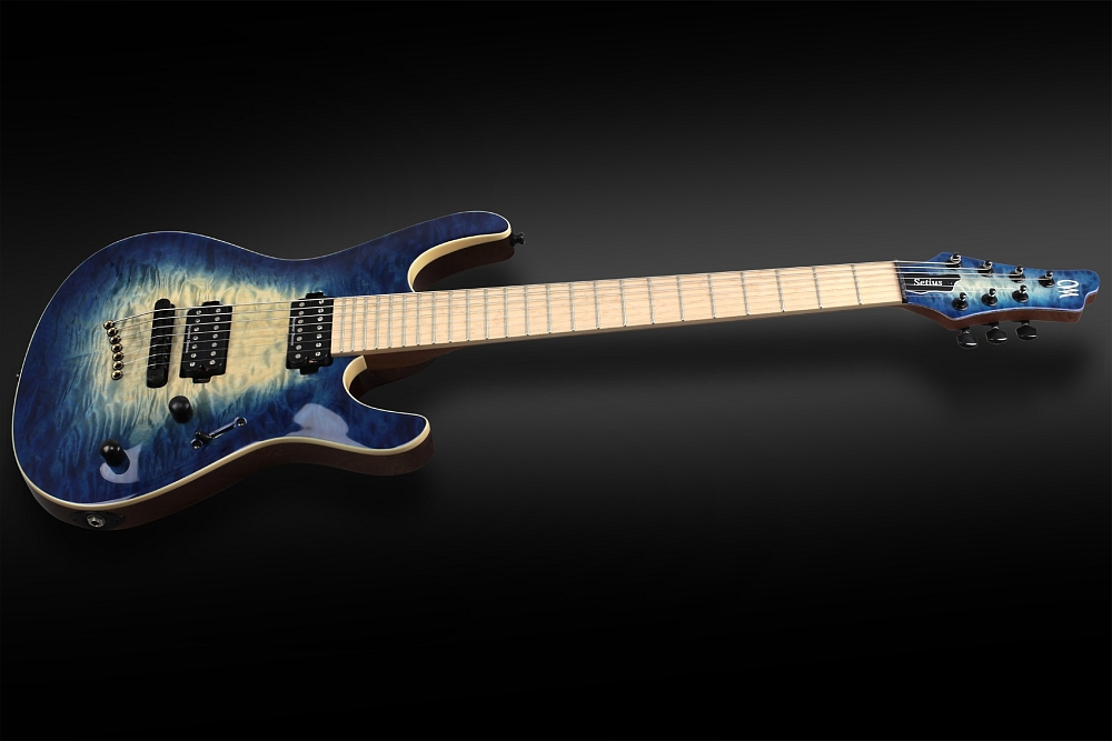 Mayones Setius 7 GTM Quilted Maple Trans Natural Fade Blue Burst Out - Master Builder Collection 2014