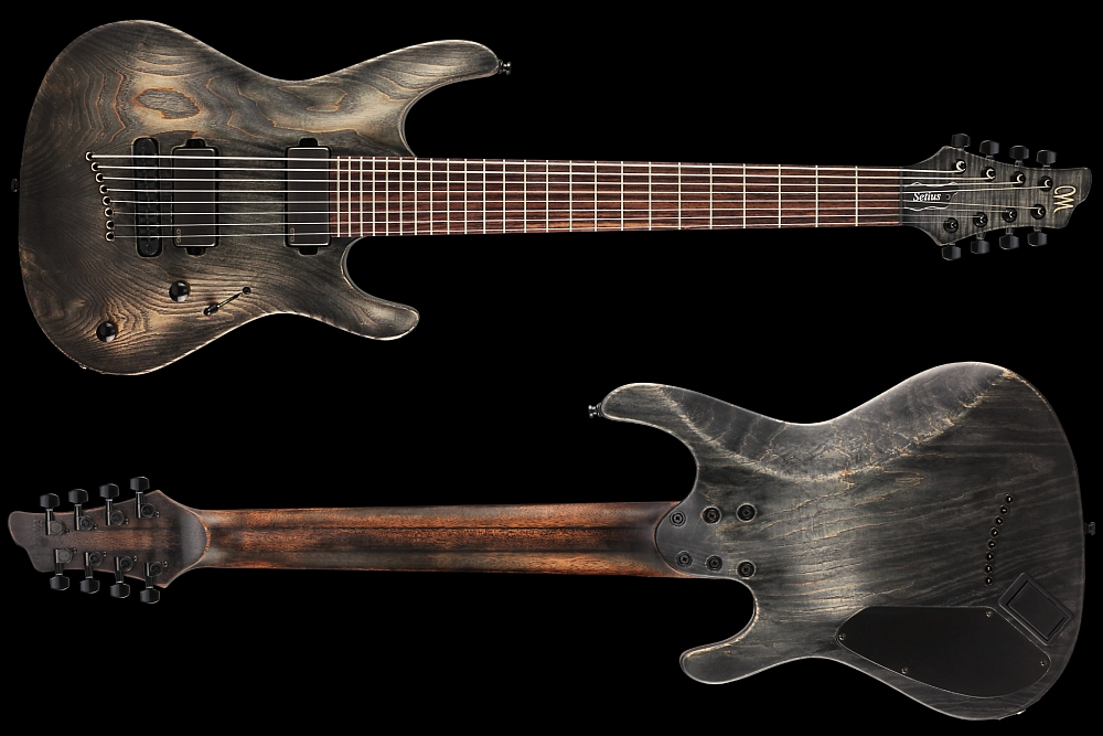 Mayones Setius 8 GTM Baritone Antique Black Oil - Master Builder Collection 2014 - front & back