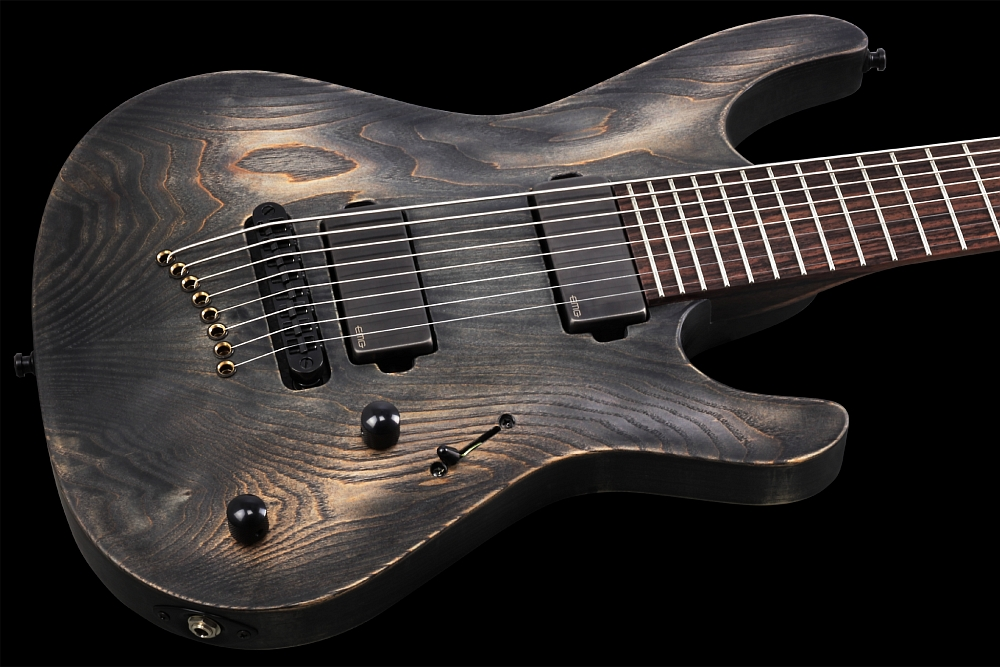 Mayones Setius 8 GTM Baritone Antique Black Oil - Master Builder Collection 2014 - Hand-selected Ash top, Swamp Ash body back, Rosewood fingerboard