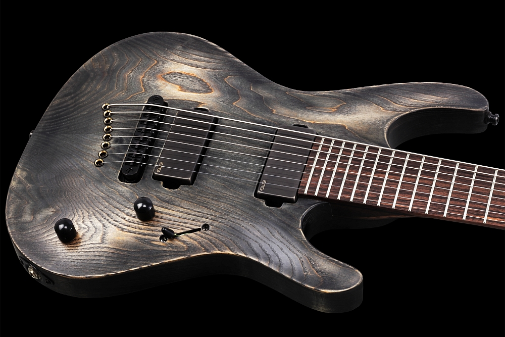 Mayones Setius 8 GTM Baritone Antique Black Oil - Master Builder Collection 2014 - Easy access to the upper frets