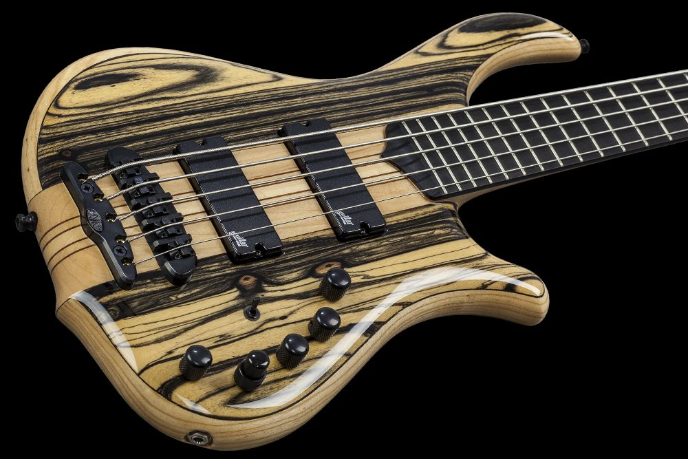 Mayones Slogan 5 Custom Ebony Pale Moon - Master Builder Collection 2015 - Ebony Pale Moon body top, Profiled American Ash back, Wenge middle, Ebony fretboard, 9-ply Maple-Mahogany neck-thru-body section