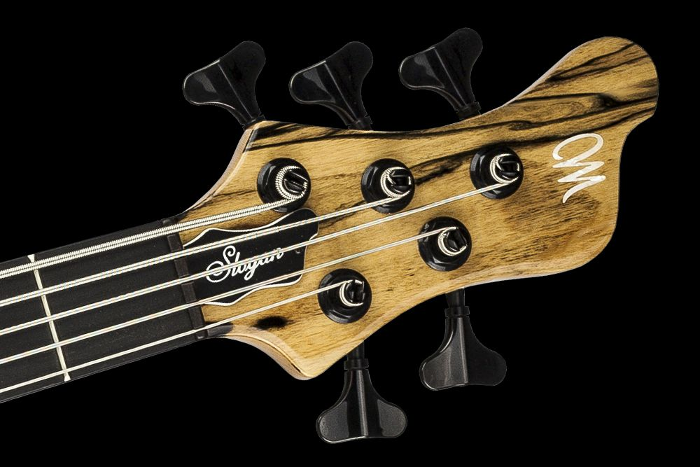 Mayones Slogan 5 Custom Ebony Pale Moon - Master Builder Collection 2015 - Ebony nut, Schaller M4 tuners