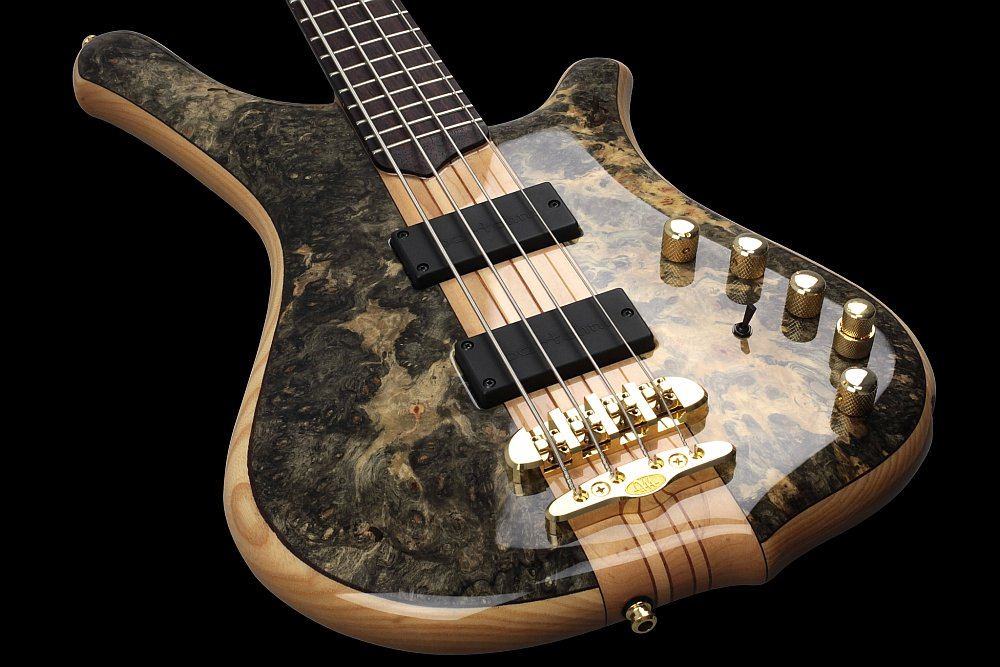 Mayones Comodous 4 Custom Shop Buckeye Burl top Trans Natural Gloss finish - Mayones X24 two-piece bridge (CNC-routed from a solid block of brass)
