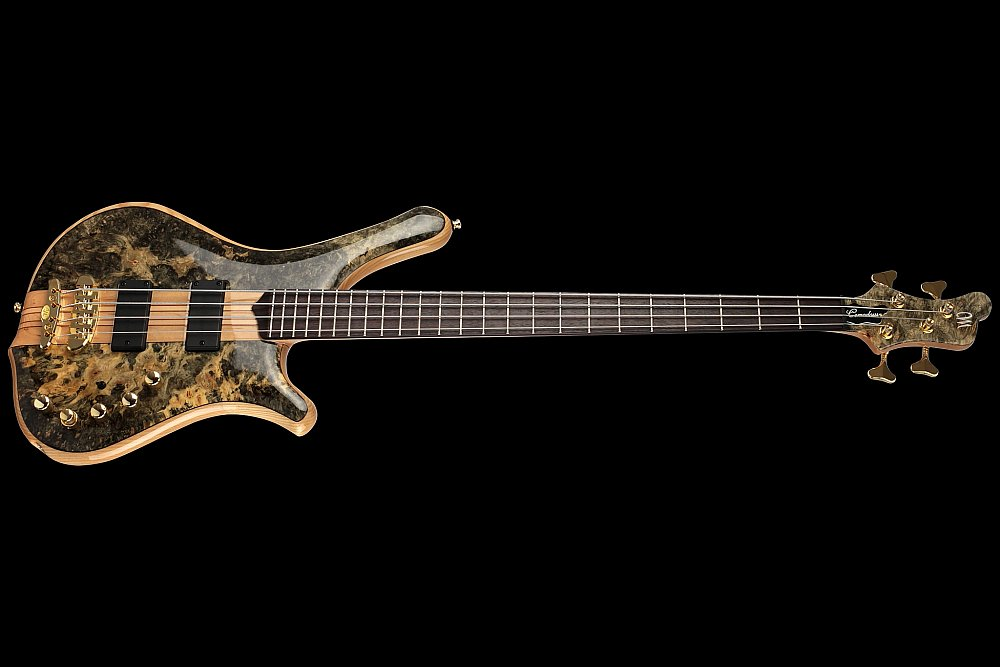 Mayones Comodous 4 Custom Shop Buckeye Burl top Trans Natural Gloss finish - Easy access to the upper frets